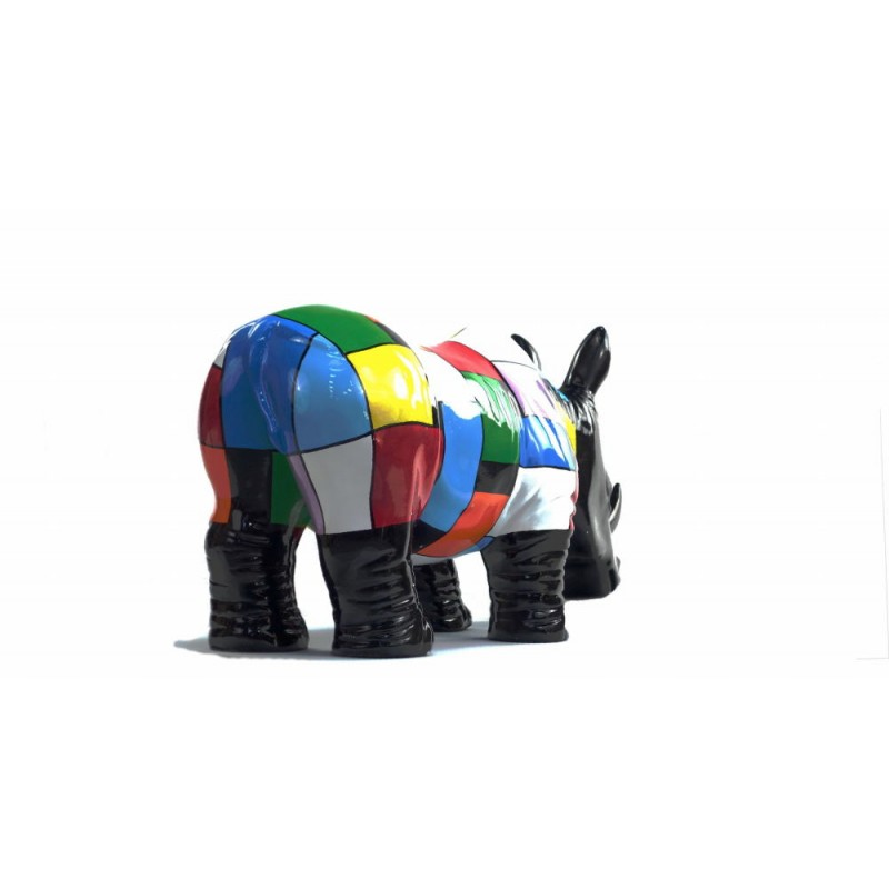 Statue decorative sculpture design RHINOCEROS in resin H34 cm (Multicolored) - image 43729