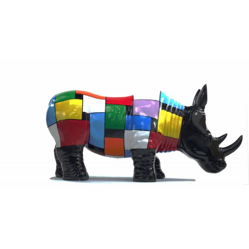Statue decorative sculpture design RHINOCEROS in resin H34 cm (Multicolored) - image 43731