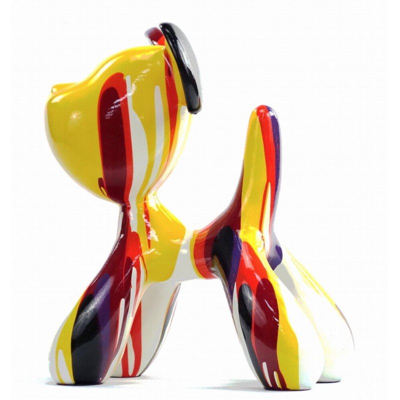 Set de 2 statues sculptures décoratives design COUPLE DE CHIENS en résine H29 cm (Multicolore) - image 43743