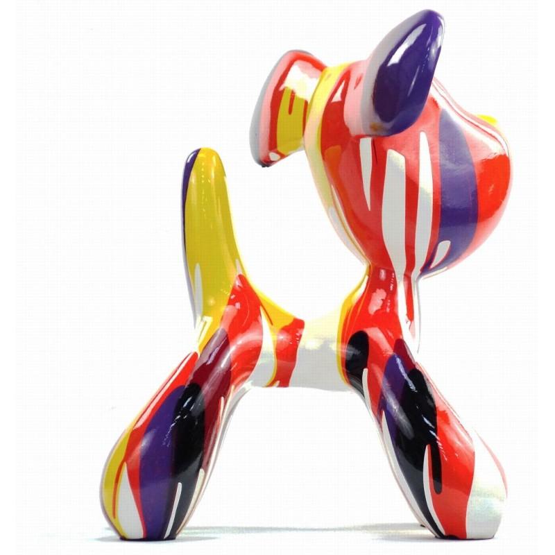 Conjunto de 2 estatuas esculturas decorativas diseño COUPLE OF CHIENS en resina H29 cm (Multicolor) - image 43746