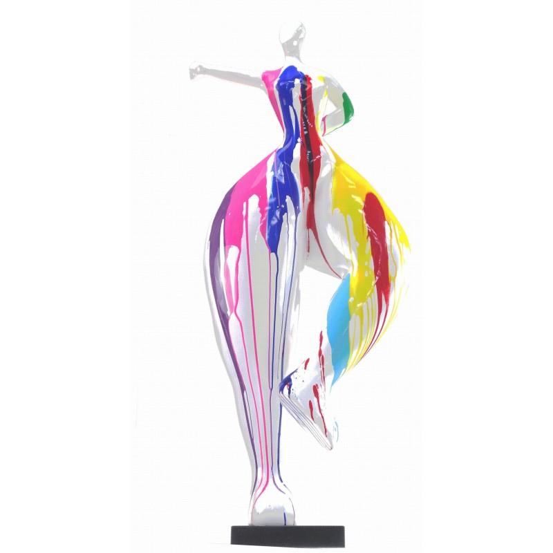 Statua scultura decorativa disegno DONNA ELEGANTE in resina H138 cm (multicolore)
