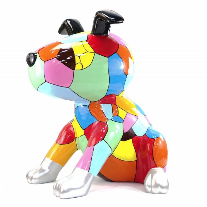 Diseño de escultura decorativa de la estatua CHIEN ASSIS POP ART en resina H100 cm (Multicolor) - image 43768