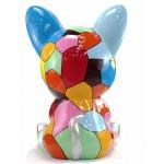 Statue sculpture décorative design CHAT ASSIS POP ART en résine H100 cm (Multicolore)