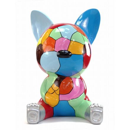 Statue decorative sculpture design CHAT ASSIS POP ART in resin H100 cm (Multicolored)