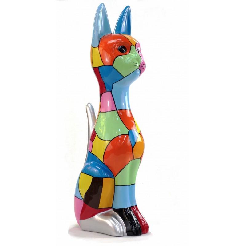 Statue decorative sculpture design CHAT DEBOUT POP ART in resin H100 cm (Multicolored)
