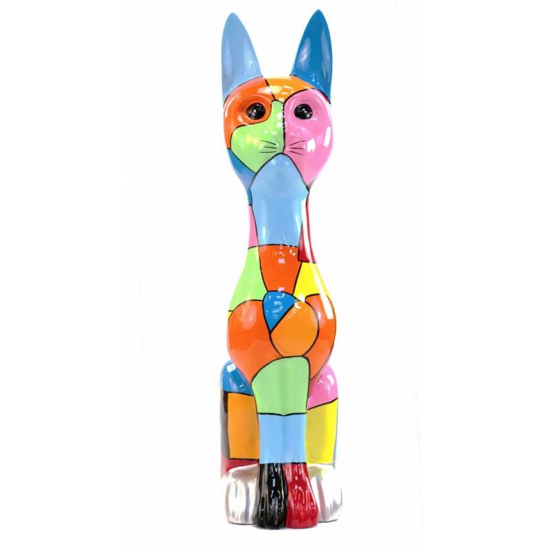 Statue decorative sculpture design CHAT DEBOUT POP ART in resin H100 cm (Multicolored) - image 43776