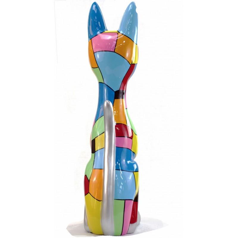 Statue decorative sculpture design CHAT DEBOUT POP ART in resin H100 cm (Multicolored) - image 43779