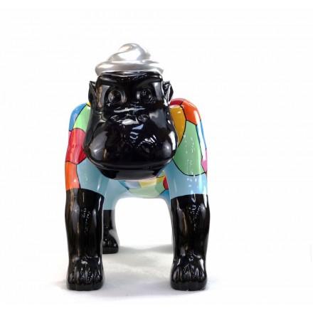Escaloarte decorativo escultura diseño GORILLE 4 PATTES en resina H75 cm (Multicolor)
