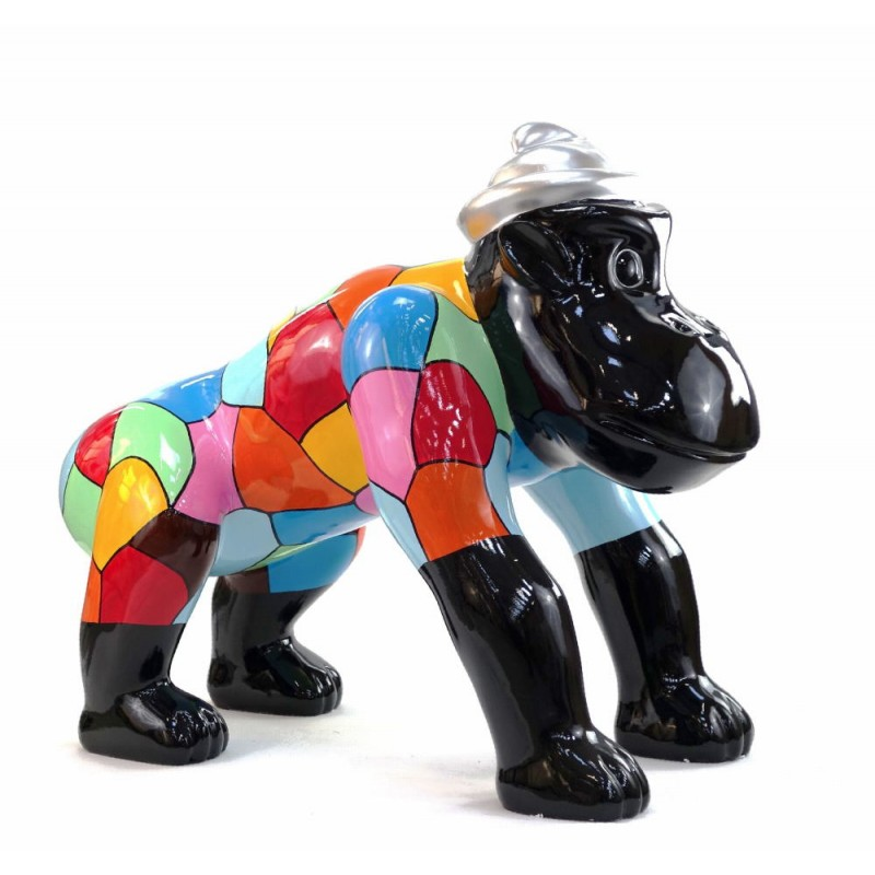 Escaloarte decorativo escultura diseño GORILLE 4 PATTES en resina H75 cm (Multicolor) - image 43783