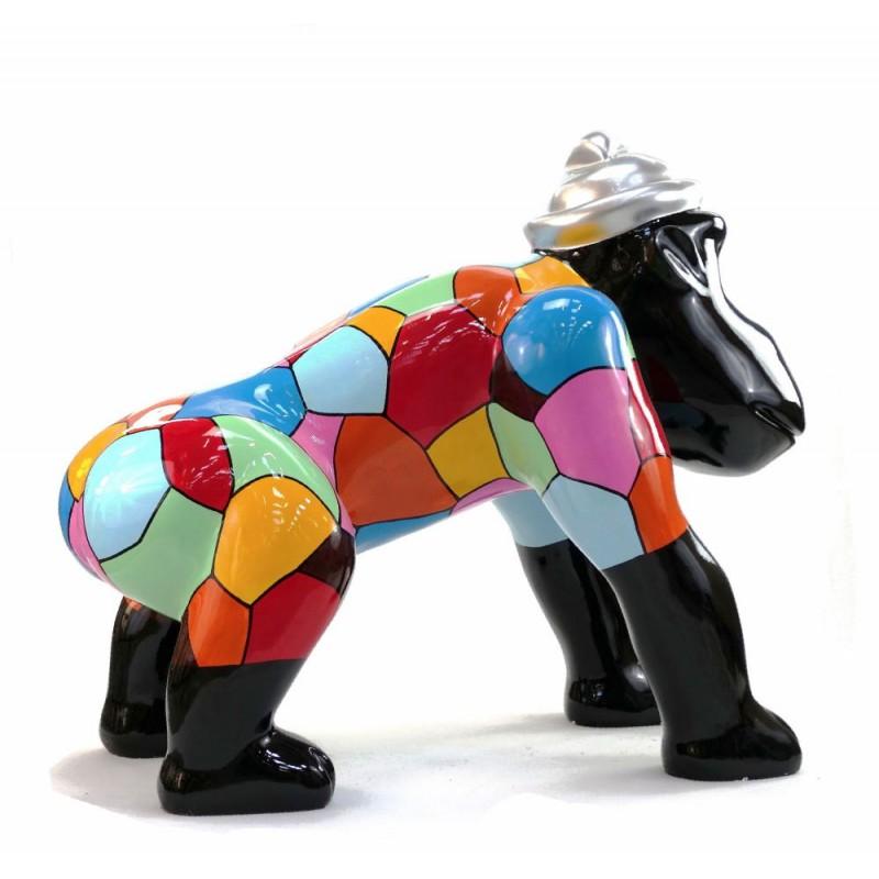 Escaloarte decorativo escultura diseño GORILLE 4 PATTES en resina H75 cm (Multicolor) - image 43784