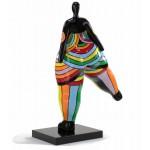 Statua scultura decorativa disegno WOMAN JAMBE LEVEE in resina H80 cm (Multicolor)