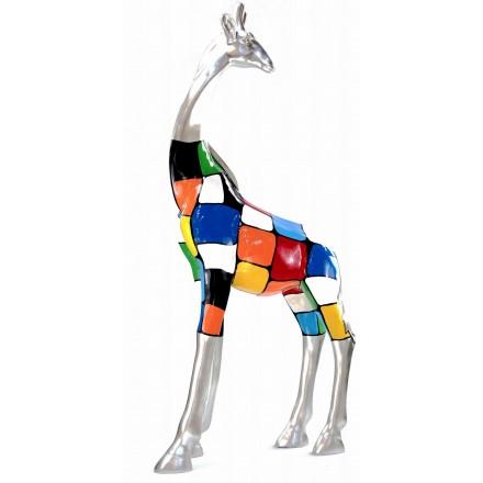 Estatua decorativa escultura diseño GIRAFE resina H162cm (Multicolor)
