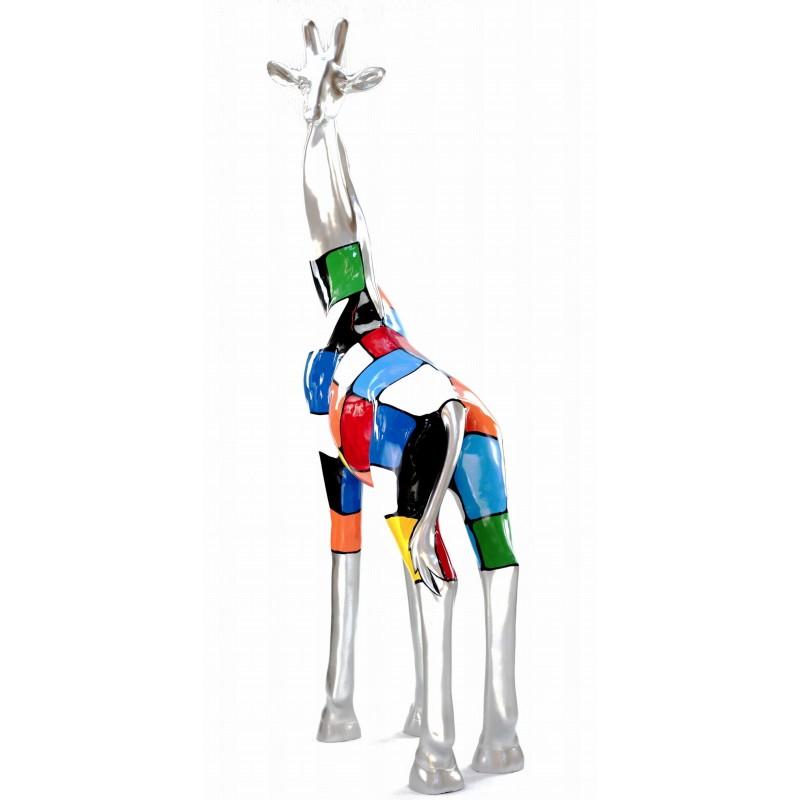 Estatua decorativa escultura diseño GIRAFE resina H162cm (Multicolor) - image 43804