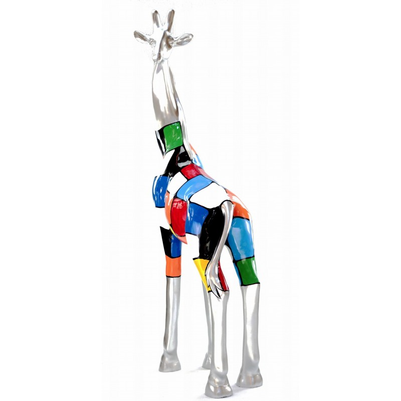 Statue decorative sculpture design GIRAFE resin H162cm (Multicolored) - image 43804