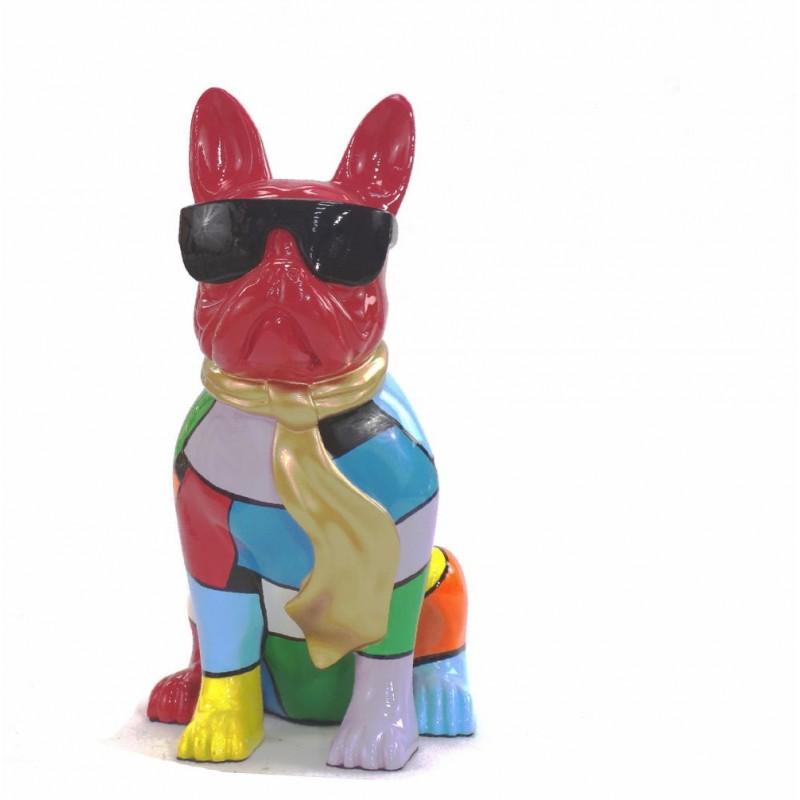 Statue sculpture décorative design CHIEN A CRAVATE DOREE en résine H36 cm (Multicolore)