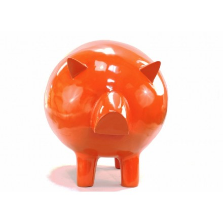 Statue sculpture décorative design COCHON en résine H65 cm (Orange)