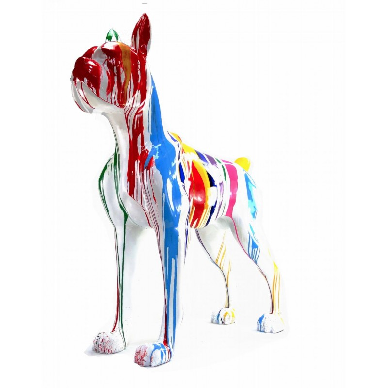Statue sculpture décorative design CHIEN DEBOUT FLASHY en résine H150 cm (Multicolore) - image 43840