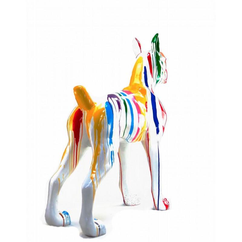 Statue sculpture décorative design CHIEN DEBOUT FLASHY en résine H150 cm (Multicolore) - image 43843