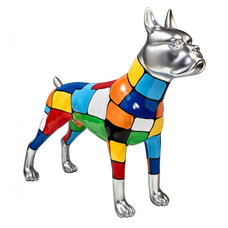 Statua scultura decorativa disegno CHIEN DEBOUT POP ART in resina H45 cm (Multicolor)