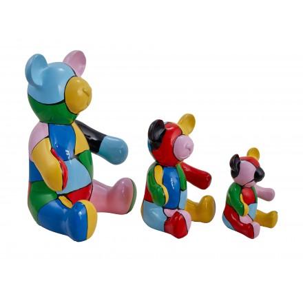 Conjunto de 3 estatuas esculturas decorativas diseño NOUNOURS resina H46/29/21 cm (Multicolor)