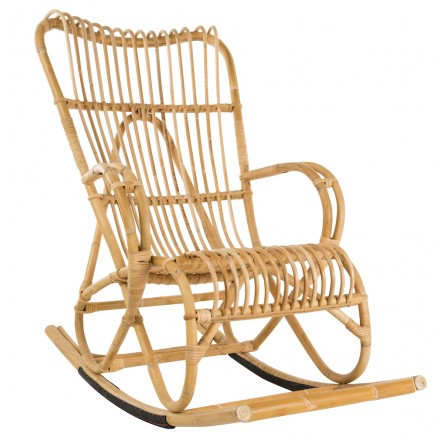 Rocking chair en rotin naturel MARLENE style vintage