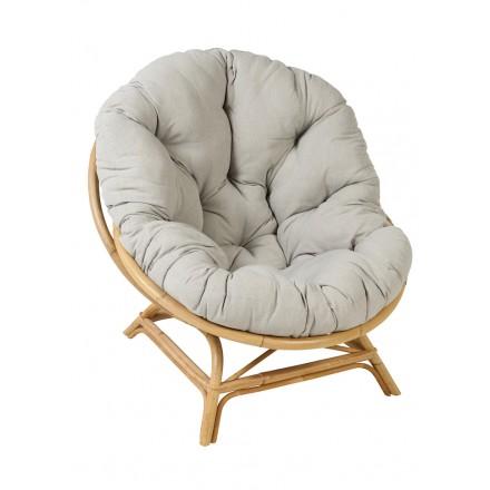 SHELL XXL Vintage Stil natürlichen Rattan Stuhl mit Kissen