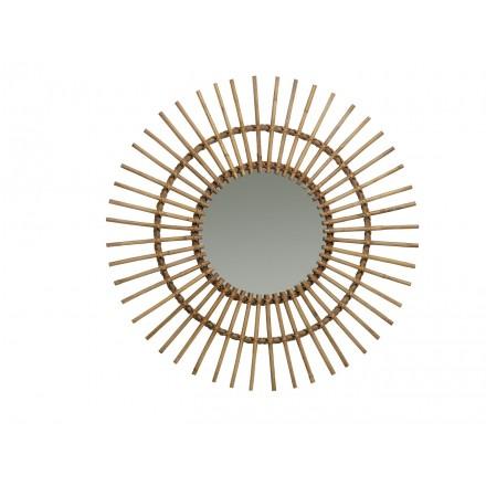 Specchio in rattan naturale SOLEIL stile vintage
