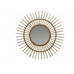 Miroir en rotin naturel  SOLEIL style vintage