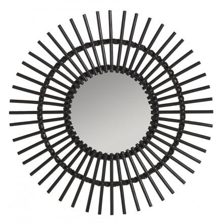 Specchio in rattan SOLEIL stile vintage (nero)