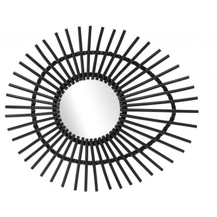 Vintage-style ELLIPSE rattan mirror (black)