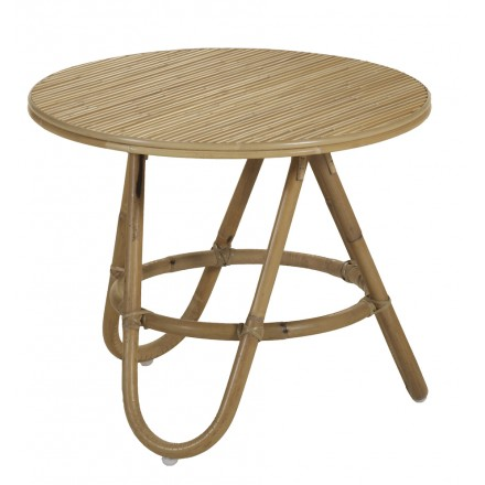 Table basse, bout de canapé DIABOLO en rotin (Ø 50 cm) (naturel)