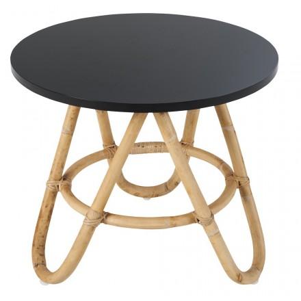 Table basse, bout de canapé DIABOLO en rotin (Ø 60 cm) (noir)