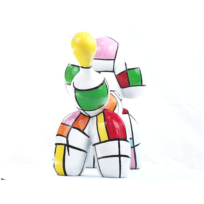 Statue dog Harlequin balloon design decorative sculpture in resin H35 (multicolor) - image 44357