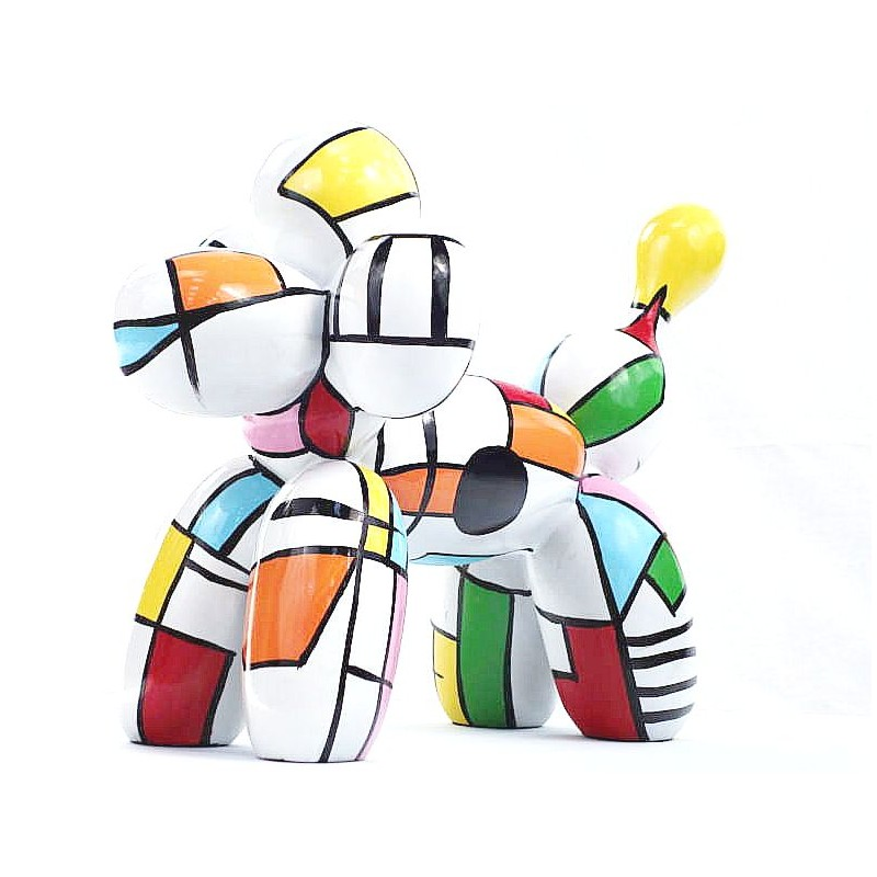 Statue dog Harlequin balloon design decorative sculpture in resin H35 (multicolor) - image 44364