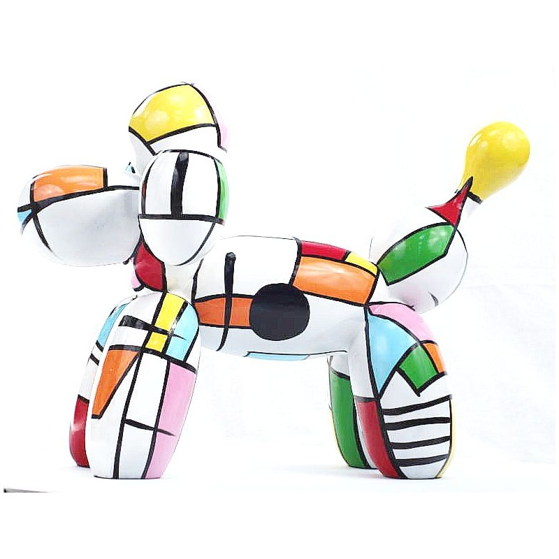 Statue dog Harlequin balloon design decorative sculpture in resin H35 (multicolor) - image 44365
