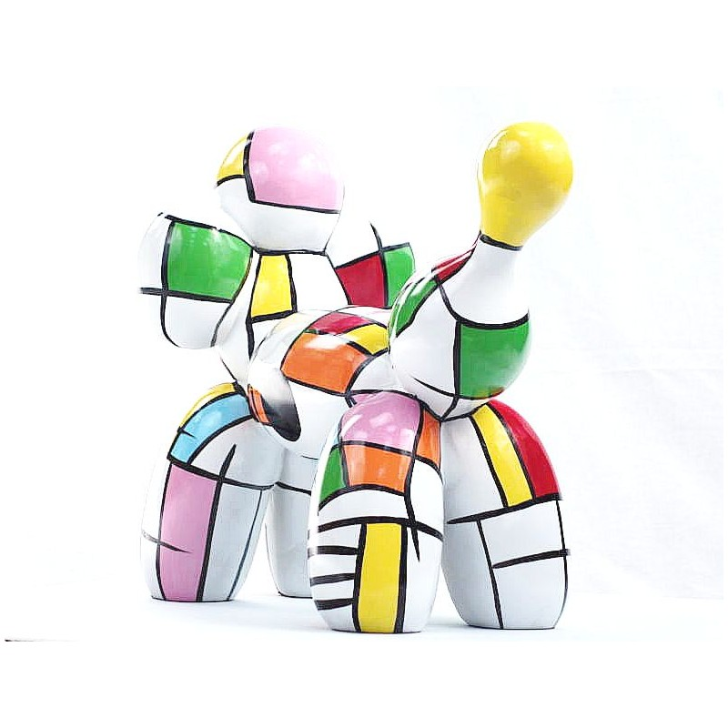 Statue dog Harlequin balloon design decorative sculpture in resin H35 (multicolor) - image 44367