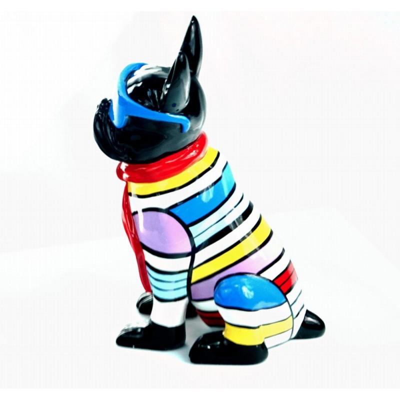 Statuette sculpture décorative design CHIEN ASSIS en résine H36 (multicolore) - image 44371