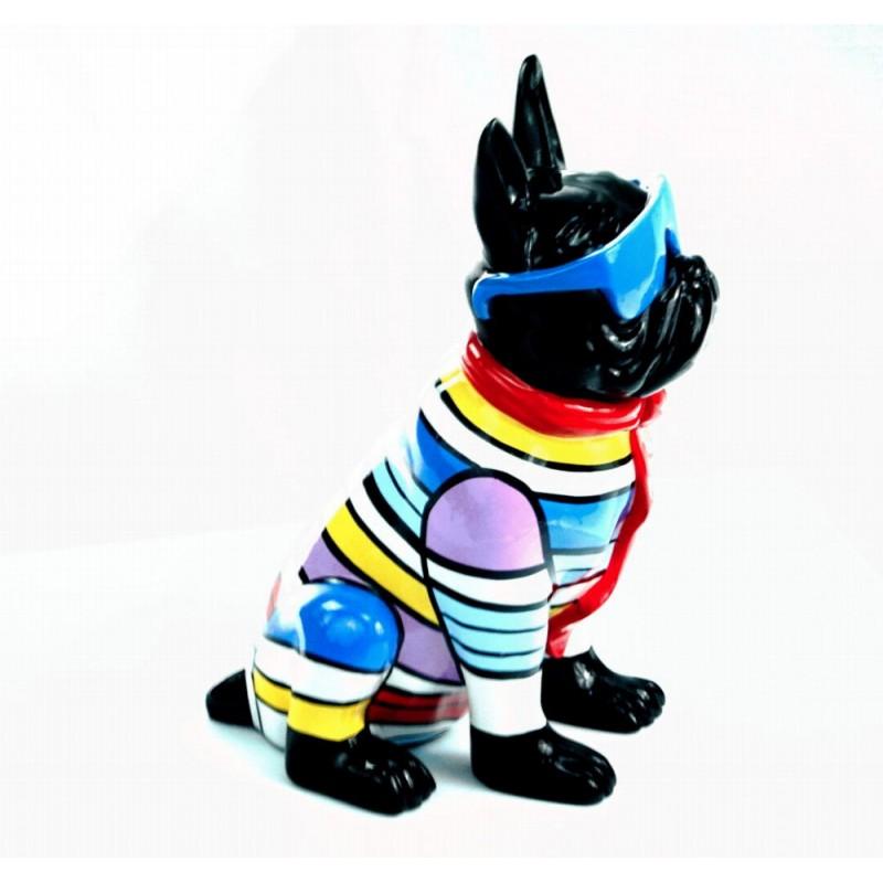 Statuette sculpture décorative design CHIEN ASSIS en résine H36 (multicolore) - image 44375