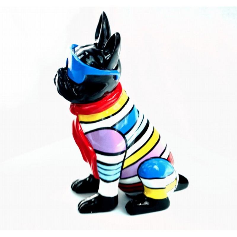 Statuette sculpture décorative design CHIEN ASSIS en résine H36 (multicolore) - image 44378