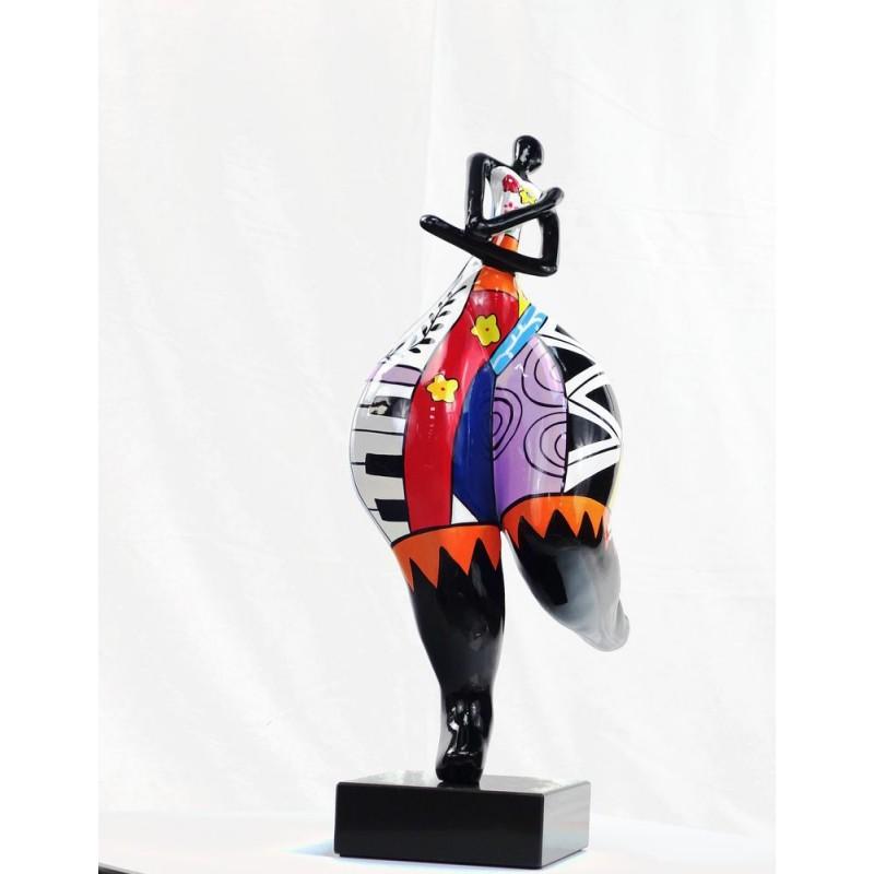 Set of 3 design decorative sculptures woman RUMBA statues resin H51 (multicolor) - image 44381