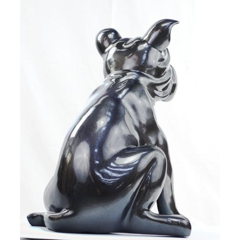 Statuette sculpture décorative design CHIEN en résine (gris foncé, canon de fusil) - image 44398