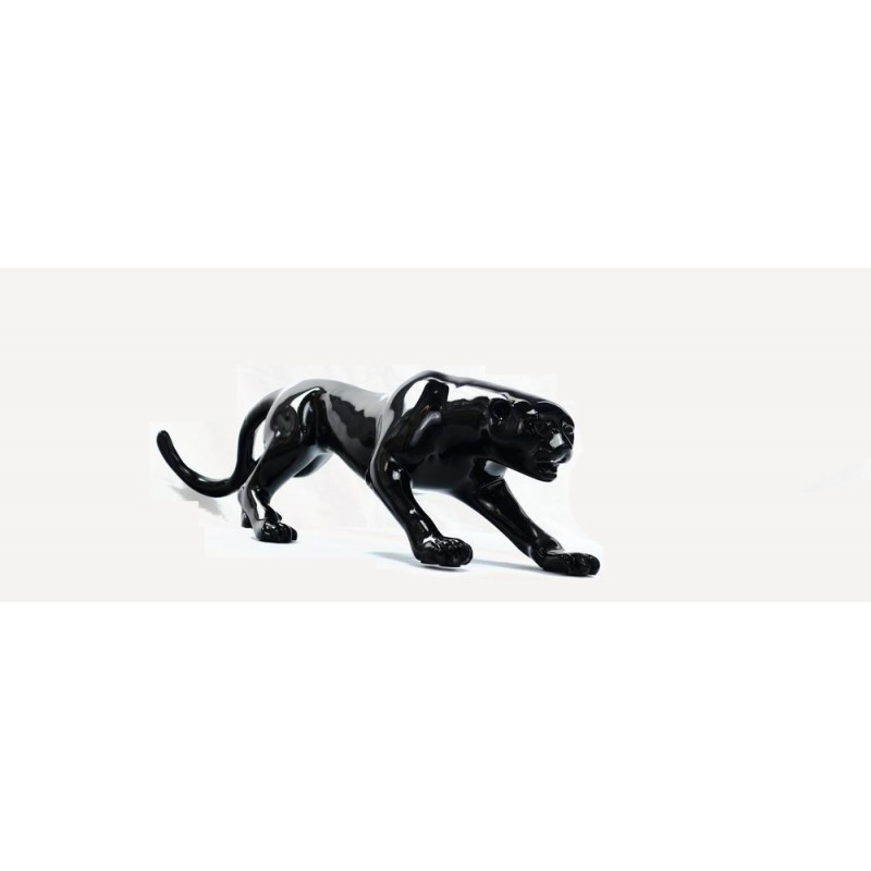 Statue sculpture décorative design PANTHERE en résine H19 (noir) - image 44408