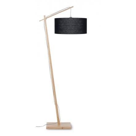 Lampe sur pied en bambou et abat-jour lin écologique ANDES (naturel, noir)