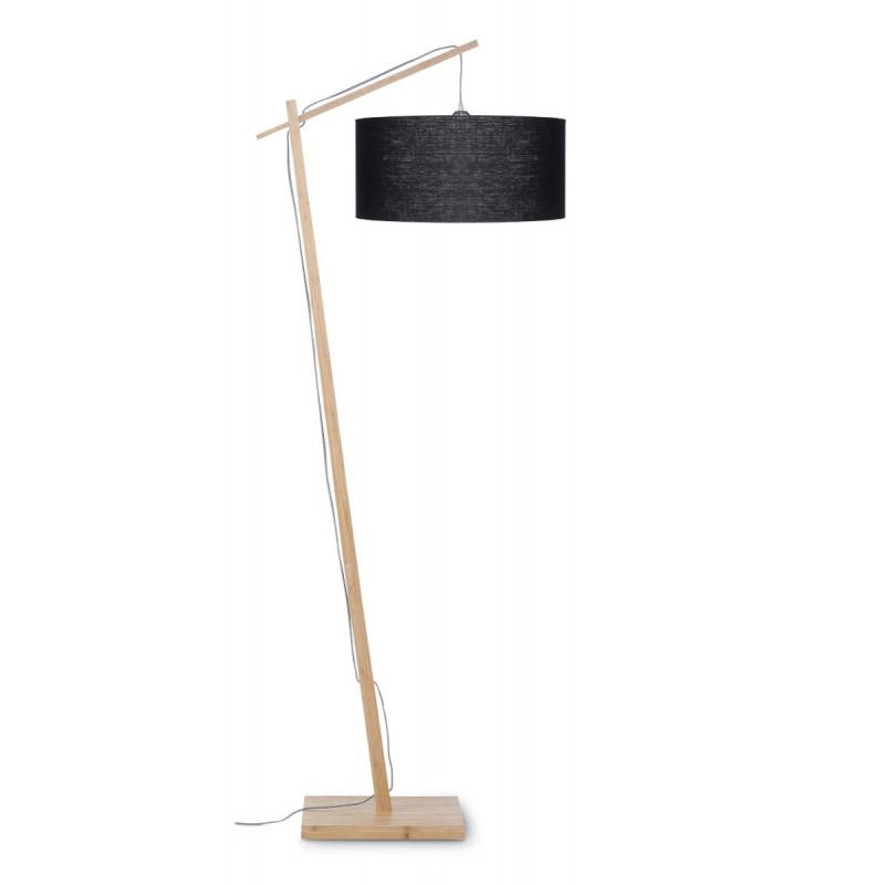 Lampe sur pied en bambou et abat-jour lin écologique ANDES (naturel, noir) - image 44422