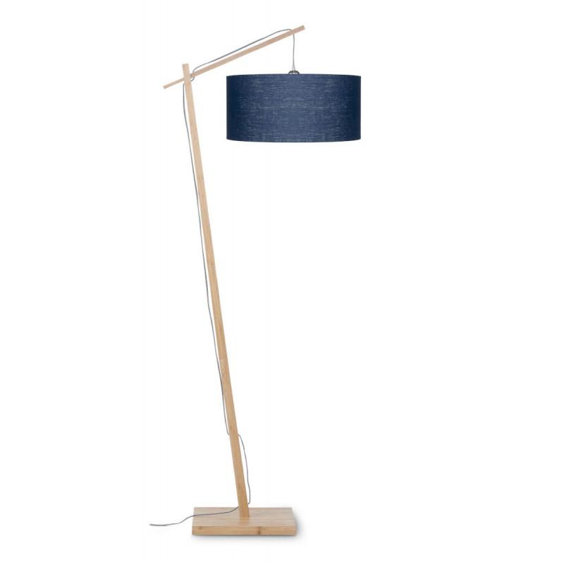 Lampe sur pied en bambou et abat-jour lin écologique ANDES (naturel, bleu jeans) - image 44428