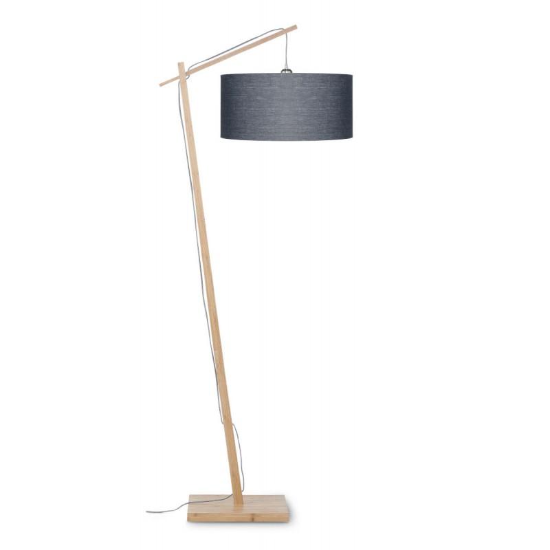 Lampe sur pied en bambou et abat-jour lin écologique ANDES (naturel, gris foncé) - image 44434