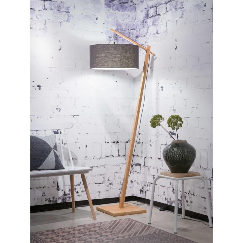 Lampe sur pied en bambou et abat-jour lin écologique ANDES (naturel, gris foncé) - image 44435