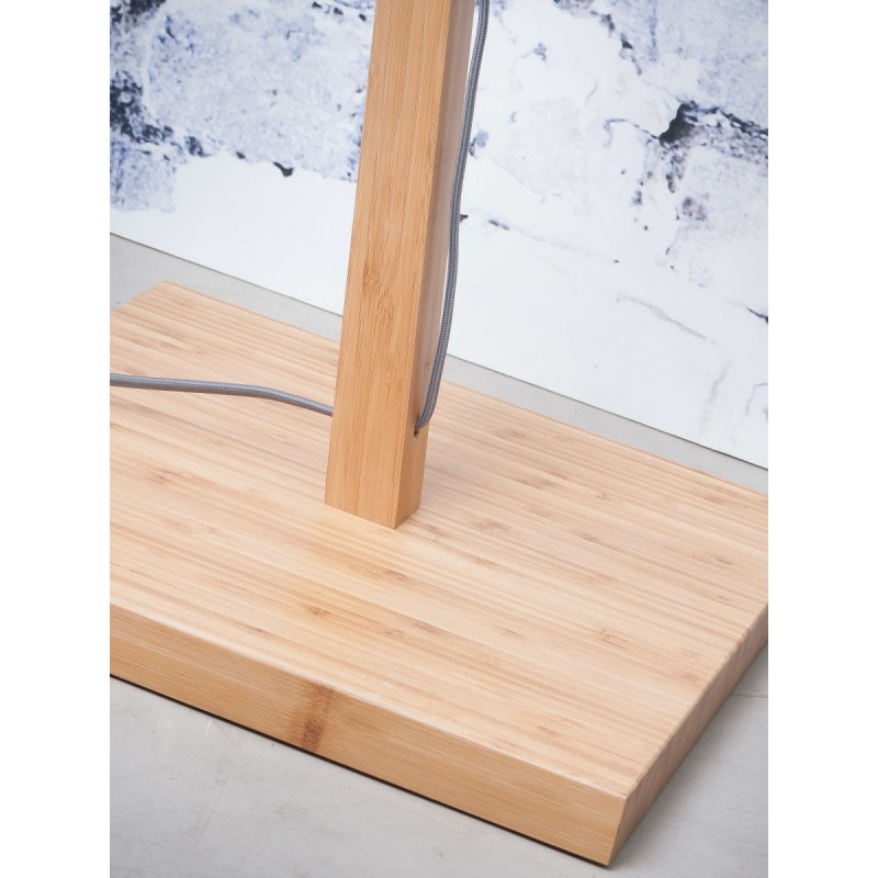 Lampe sur pied en bambou et abat-jour lin écologique ANDES (naturel, gris foncé) - image 44436