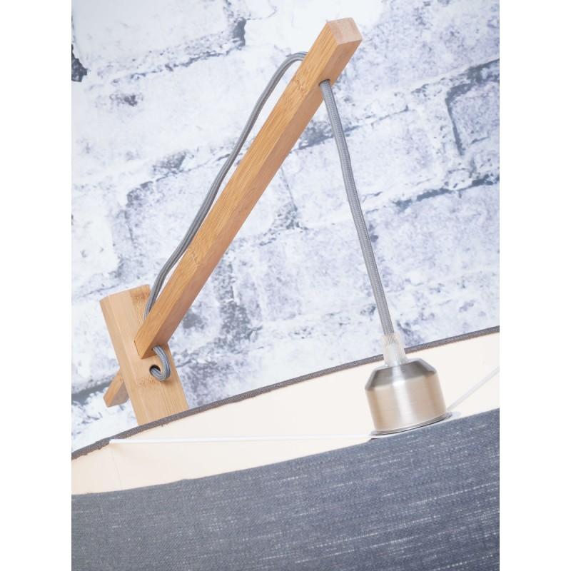 Lampe sur pied en bambou et abat-jour lin écologique ANDES (naturel, gris foncé) - image 44438