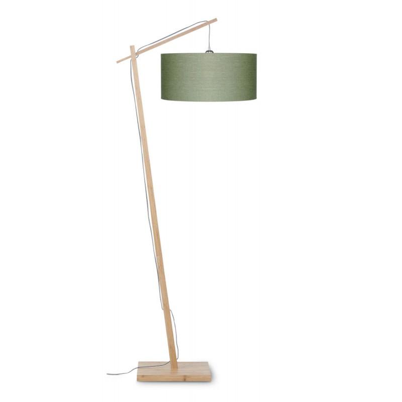 Lampe sur pied en bambou et abat-jour lin écologique ANDES (naturel, vert foncé) - image 44440